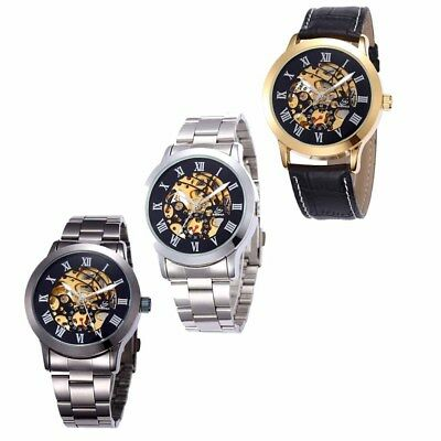 Luxury Stainless Steel Mechanical Watch Analog Fashion Leather SHENHUA Mens