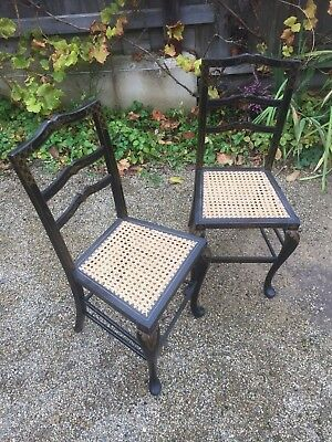 Beautiful Pair of Victorian Hand Painted Ebonised Cane Side chairs