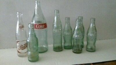 Coca-Cola Bottles - Lot of 6 & Pepsi Cola bottle