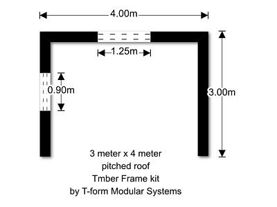 Timber frame Home  Extension kit by T-Form Modular Systems3 meter x 4 meter