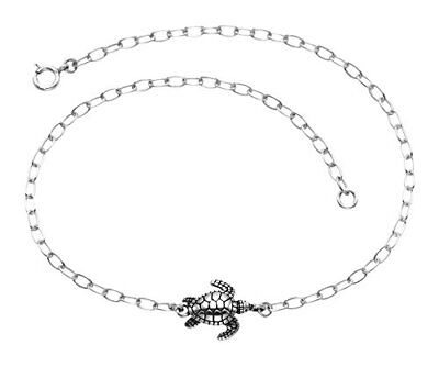 Fashion Jewelry 925 Sterling Silver Sea Turtle Adjustable Teen Or Children Length Anklet