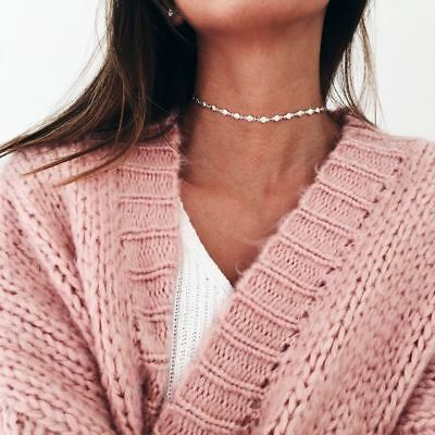 Crystal Necklace Beaded Choker Plain Delicate Chain Simple Dainty SILVER GOLD