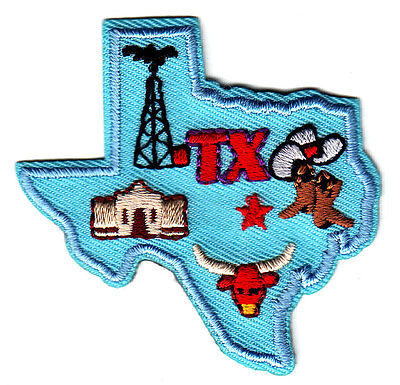 TEXAS STATE SHAPE Iron On Patch Southwest