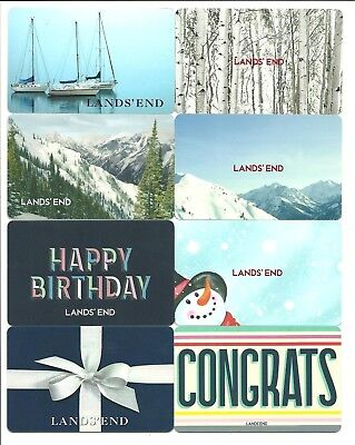Lot of (8) Lands' End Gift Cards No $ Value Collectible Snowman Ships Birch Tree