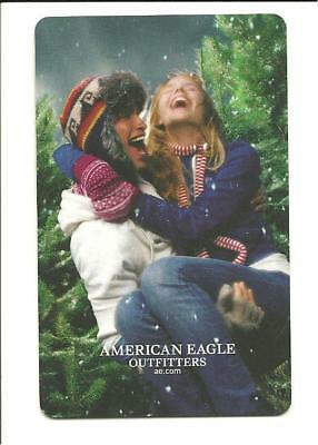 American Eagle Gift Card No $ Value Collectible Trees Guy Gal Snow AE