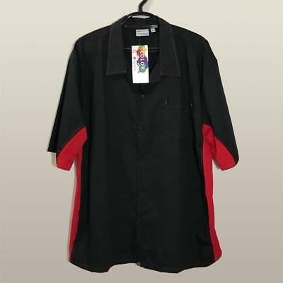 Chef Works Mens Cool Vent Universal Contrast Cook Shirt Black Red Size 4XL