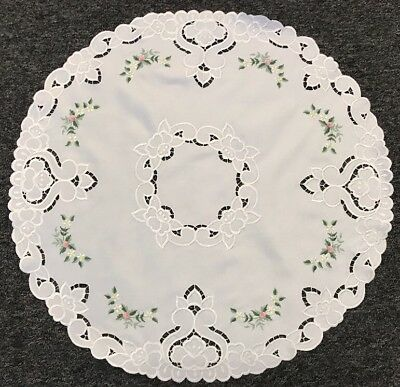 "24"" Large Round Embroidery Fabric Doily Doilies Mat Embroidered Handmade Rosebud"
