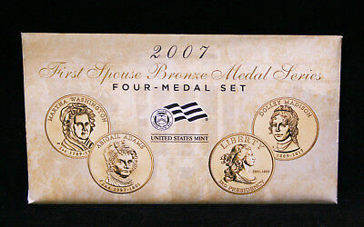 """2007 First Spouse Bronze Medal Series Four-Medal """"Mule"""" Set in US Mint Packaging"""