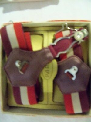1916 Men Paris Stocking Garters New In Box Fashion Maroon No Metal Can Touch You