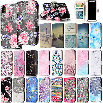 Magnetic Hot Painted Wallet Leather Case Stand Cover for iPhone X/5s/7/6s/8 Plus