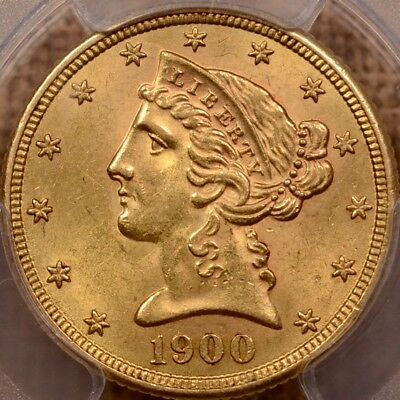 1900-S Better date $5 Liberty Gold half Eagle, PCGS MS63    DavidKahnRareCoins