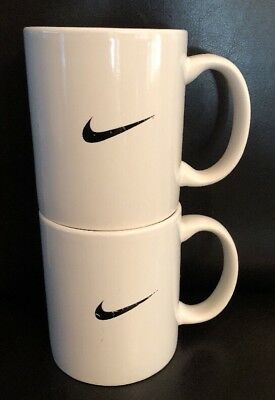 Rare!!!NIKE SWOOSH Mug White with Black Swoosh Just do it Lot Of (2) As Is