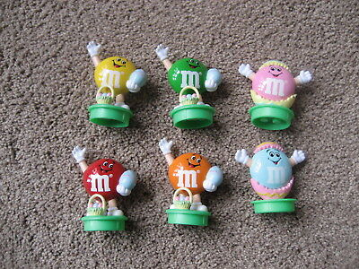 M&m's- Set Of 6 Plain Guys M&m Easter Toppers- Round Green Bases