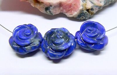 3 RARE NATURAL BLUE LAPIS LAZULI HAND CARVED ROSE FLOWER BEADS AFGHAN 15mm AAA++