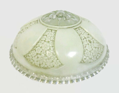 """Antique Art Deco Frosted Floral Glass Shade Globe 3 Chain Ornate Design 10"""" D"""