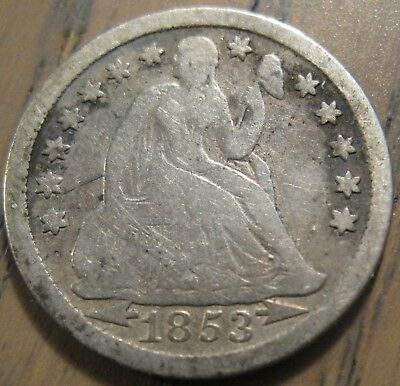 1853-P Seated Liberty Dime With Arrows LIBERTY is 75% Complete