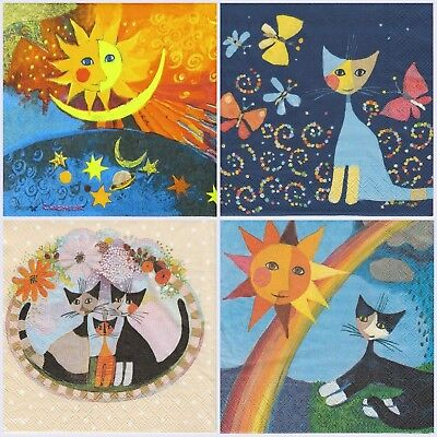 4x Paper Napkins for Decoupage Craft Rosina Wachtmeister Cats & Moon