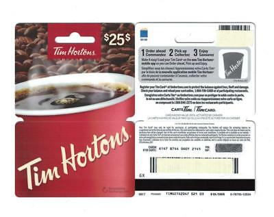 Tim Hortons 2017 Canadian $25. Hanger Red Coffee Cup Gift Card FD59281 NO VALUE