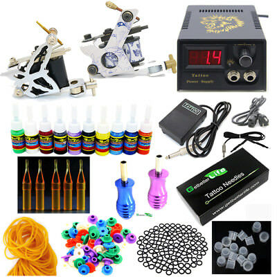 New Starter Complete Tattoo Kit 2 Machines Guns 10 Color inks Power Supply Set