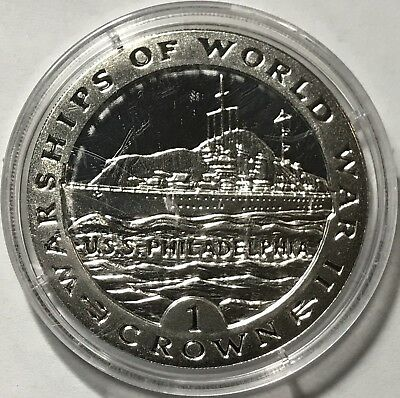 1993 Crown - Gibraltar - Warships Of World War Ii - Uss Philadelphia - Silver