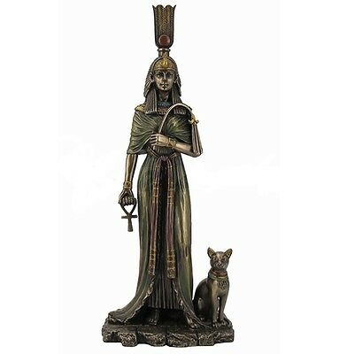 "10.75"" Egyptian Queen Nefertari w/ Cat Sculpture Figurine Ancient Egypt Statue"