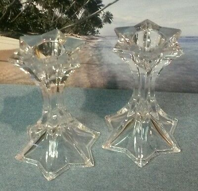 Pair of Elegant Clear Crystal 6 Point Star Design Candle Stick Holders