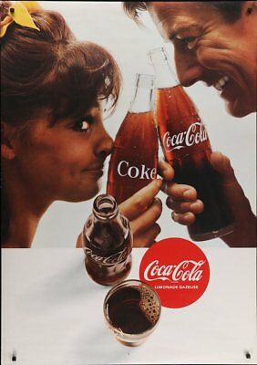 COCA COLA Vintage 1968 Swiss advertising poster 36x51 RARE NM