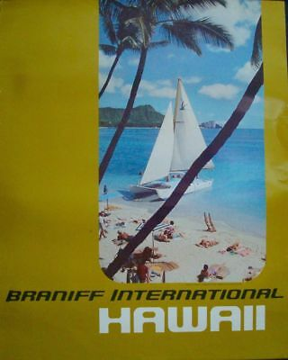 BRANIFF AIRLINES HAWAII Vintage Travel poster 1972 Beach 20x26 NM