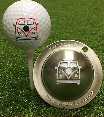 1 only TIN CUP GOLF BALL MARKER - WOODSTOCK V.W,  EASY TO DO