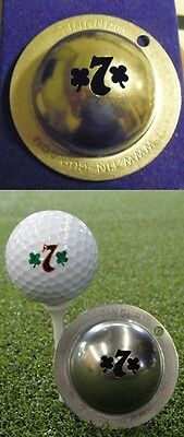 1 only TIN CUP GOLF BALL MARKER - LUCKY SEVEN - YOURS FOR LIFE & EASY TO DO