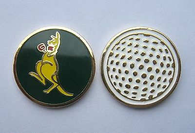 1 ONLY  Golf  BALL MARKER  KANGAROO GREEN & GOLD