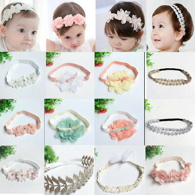 UK Baby Girls Kids Flower Hairband Soft Elastic Headband Hair Band Accessories