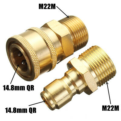 """2Set Pressure Washer Quick Release 14.8mm 3/8"""" Male To M22 Male Fitting Coupling"""