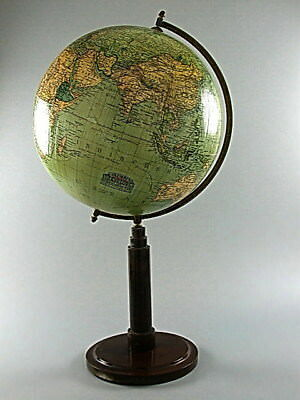 "ANTIQUE 1920s TERRESTRIAL WORLD GLOBE 10.00"" in PAPERMACHE WOODEN STAND COLUMBUS"