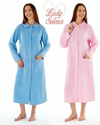 Lady Selena Soft Fleece Long Sleeve Button Front & Pockets Dressing Gown Robe