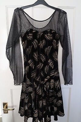 Ice Skating Dress Black with Gold & Silver Design