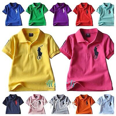 New boy girl shortsleeved  polo T-shirt Top size 2.3.4.5.6.7.8.9.10.11.12 cotton