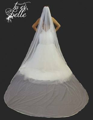 1 Tier Cathedral Length Veil Satin Edge With Crystals Bridal Wedding Ivory White