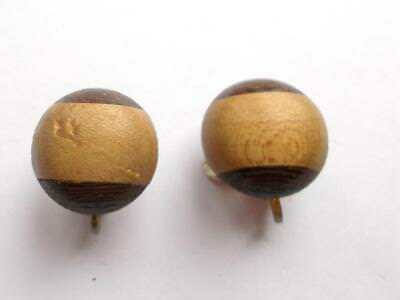 Vintage 1950's Brown Laminated Wood / Wooden Domed Bead Clip On Earrings