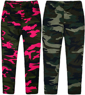 Girls New Camo Leggings Children Jeggings Full Length Kids Party Pants Age 2-10Y