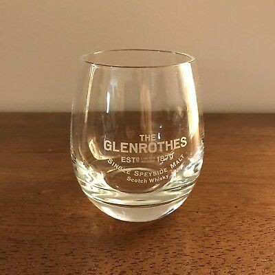 GLENROTHES Scotch Whiskey Weighted Bottom Glass White Etched Letters
