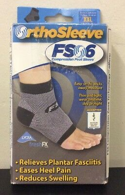 OrthoSleeve FS6 Compression Foot Sleeve 1 Pair Size XXL Black NEW Free Shipping