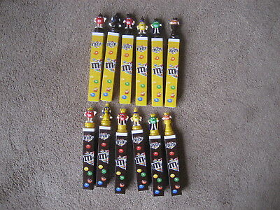 M&m's- Set Of 12 European M&m Chess Toppers Square Bases With Tubes-  New