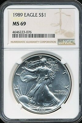 1989 $1 ASE American Silver Eagle NGC MS69