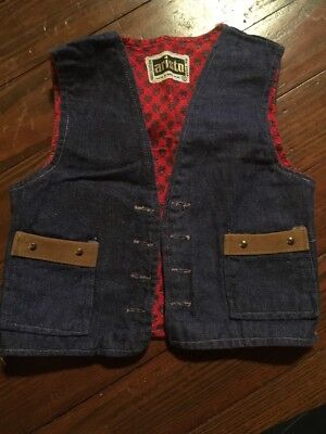 VTG 70s  ARISTO Kids Blue Jean And Red Paisley Vest Studded Pockets SZ 6