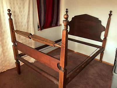 Antique full sized handmade walnut rope bed Mid-1800s