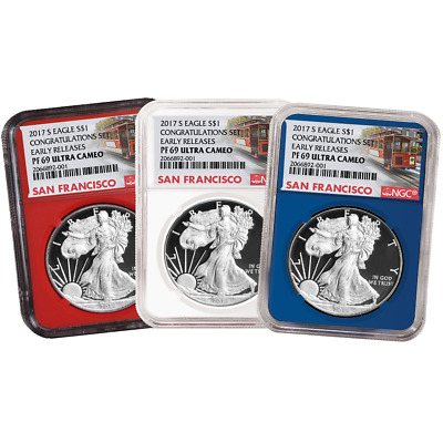 2017-S Proof $1 American Silver Eagle Congratulations Set NGC PF69UC 3pc Trolley