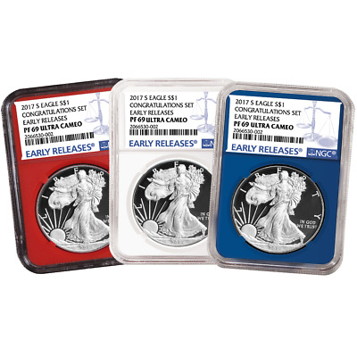 2017-S Proof $1 American Silver Eagle Congratulations Set NGC PF69UC 3pc Blue ER
