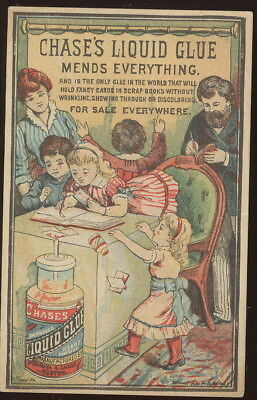 1880-90S Trade Card Advertising Chase's Liquid Glue For Scrap Books