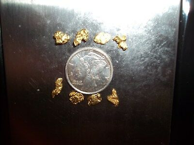 2.00 Grams Alaska Natural Gold Nugget, 8 Nuggets, Nice Color , Low Shipping $ !